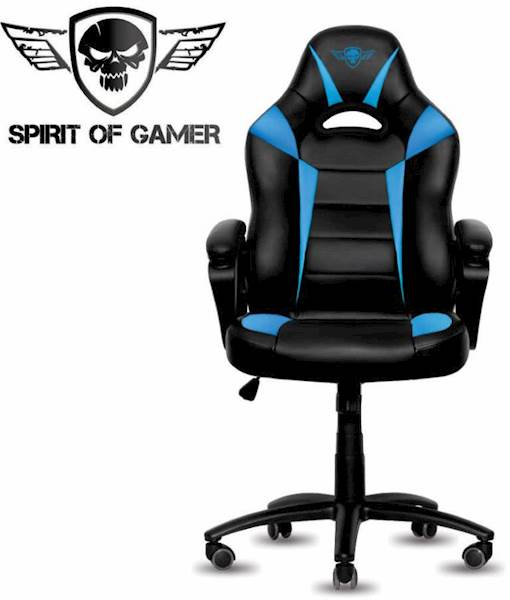 Gaming stol Spirit of gamer FIGHTER črno-modre barve