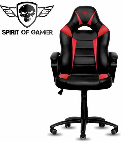 Gaming stol Spirit of gamer FIGHTER črno-rdeče barve