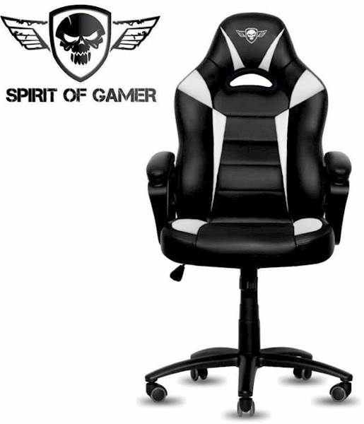 Gaming stol Spirit of gamer FIGHTER črno-bele barve