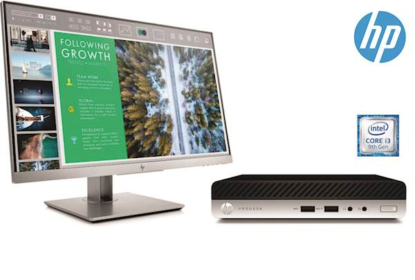Komplet HP ProDesk 400 G5 DM i3-9100T/8/256GB/W10Pro + Monitor HP EliteDisplay E243